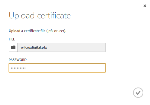 Uploading a certificate in the Azure management portal.