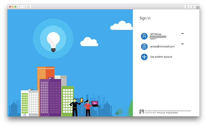 Azure Active Directory sign in lets users authenticate with their corporate identity.