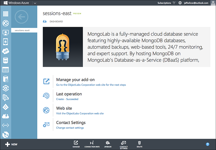 Management Portal - Azure Add-Ons