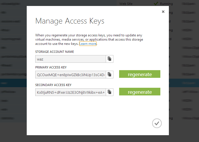 A view of the access keys inside the Windows Azure management portal.