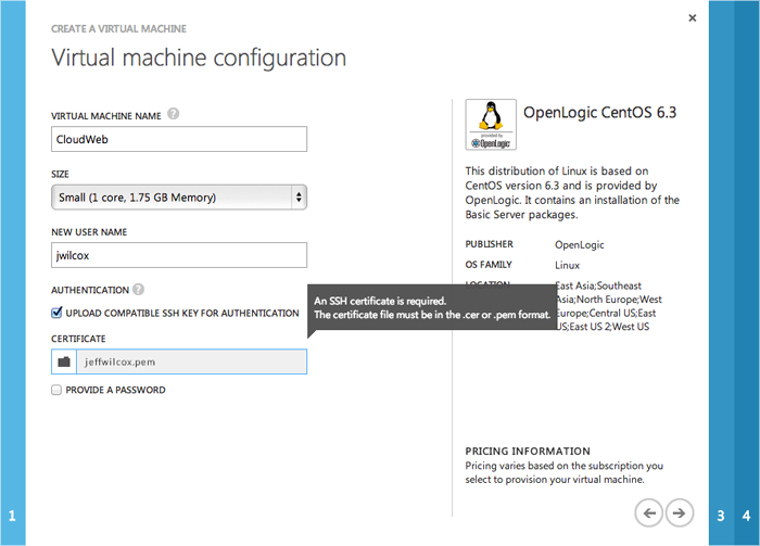 Virtual machine configuration - this is where you specify key-only authentication for a new Linux VM.
