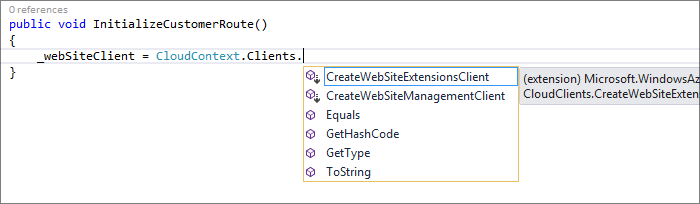 The common CloudContext type uses extension methods to light up available service clients.