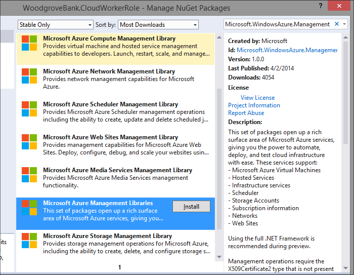 Grab individual service libraries or pull in a good starting point by installing Microsoft.WindowsAzure.Management.Libraries from the NuGet package manager or console.