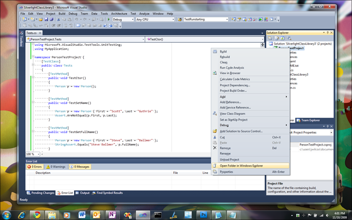 VisualStudioOpenWindowsExplorerForProjectLocation