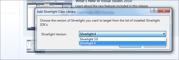 VisualStudioSelectSilverlightVersion