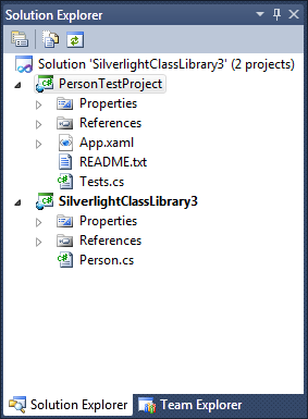 VisualStudioTestAppAndClassLibrarySolutionExplorer
