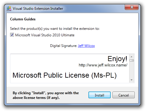 Visual Studio Extension Installer