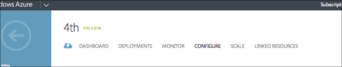 The Configure tab in the Windows Azure portal.