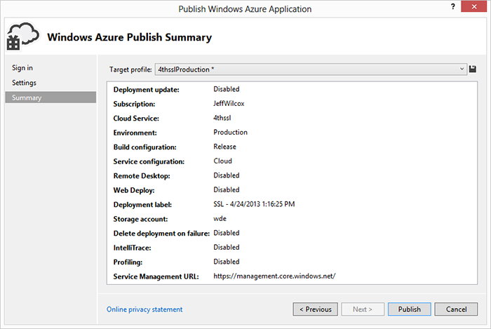 Publishing a cloud service to Windows Azure.