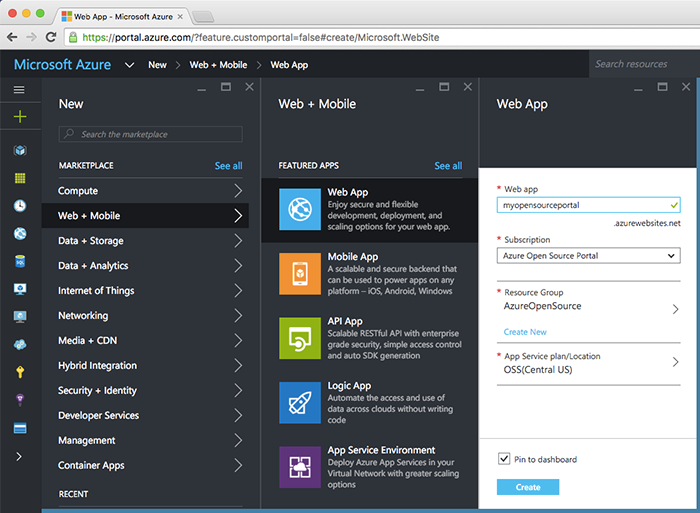 Creating a new app service in the Azure Portal.