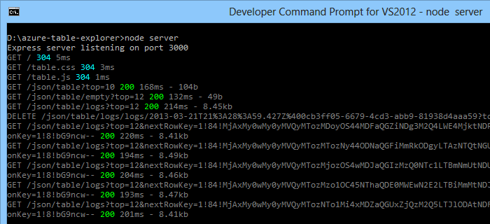 A screenshot of the command prompt in Windows showing the running Node.js express site.