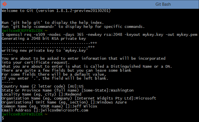 Using Git Bash with built-in openssl to generate a key pair.