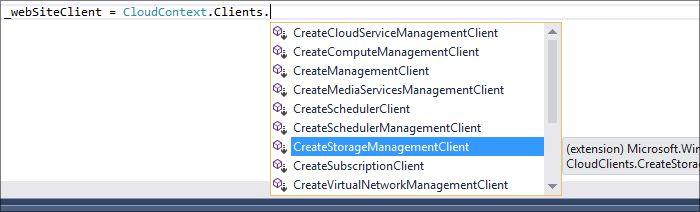 After adding additional libraries to a project from NuGet, you will note that the CloudContext.Clients area expands to show all referenced clients.